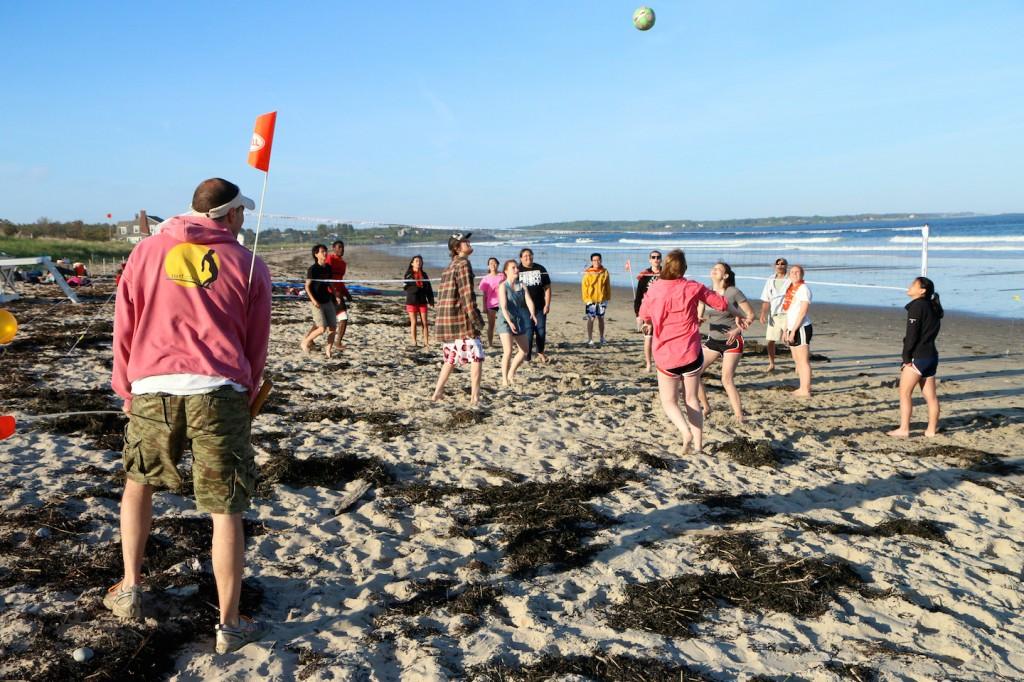 Beach games at Surf Camp Maine