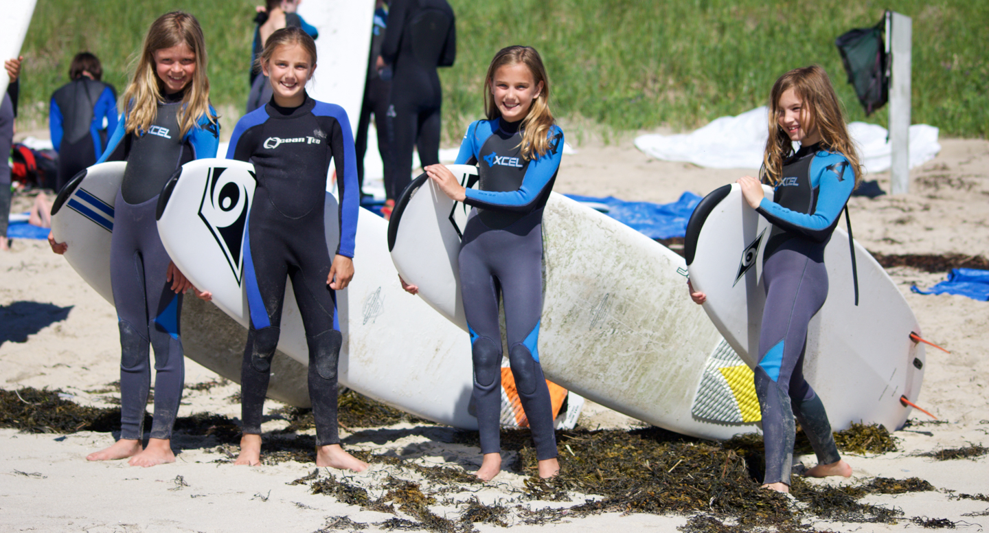 Surf campers getting ready to learn how to surf in Maine!